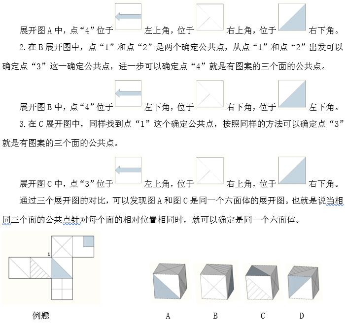 """2019广西公务员行测答题技巧:图形推理之六面体中""""公共点法""""的妙用"""